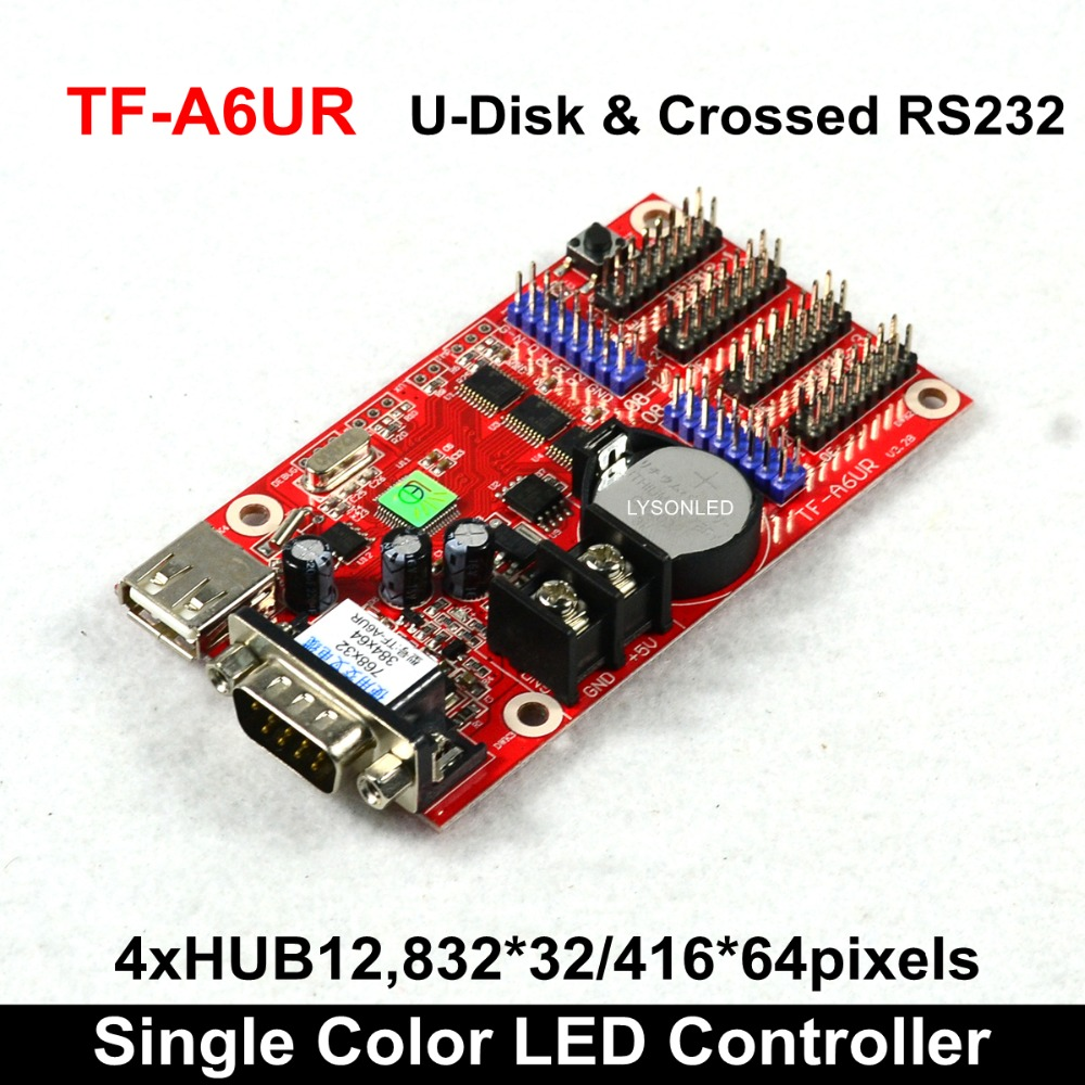 Free Shipping TF-A6UR Single/Dual Color LED Message Display Card  Support P4.75/P10/P16 LED Display Module HUB12 & HUB08
