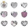 Moda 925 Prata Esterlina-prata-jóias Corações de Cristal Charme Europeu Beads DIY Beads para Fazer Jóias Por Atacado