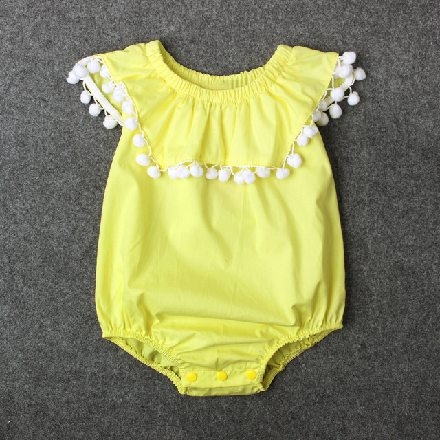 a6ec90daaa1b Boho Style Pom Pom Romper Chic Yellow Newborn Baby Girl Coming Home Outfit