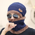 2016 Inverno Gorro De Pele Forro de Lã Grossa Dos Homens Das Mulheres Moda Sólidos Inverno quente Knit Hat Cap Cachecol Conjuntos Conjuntos de Cachecol Gorro Skullies