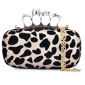 High Quality Products Punk Skull Ring Sexy Leopard Print Clutch Evening Bag Handbag with Sequin Metal Chain