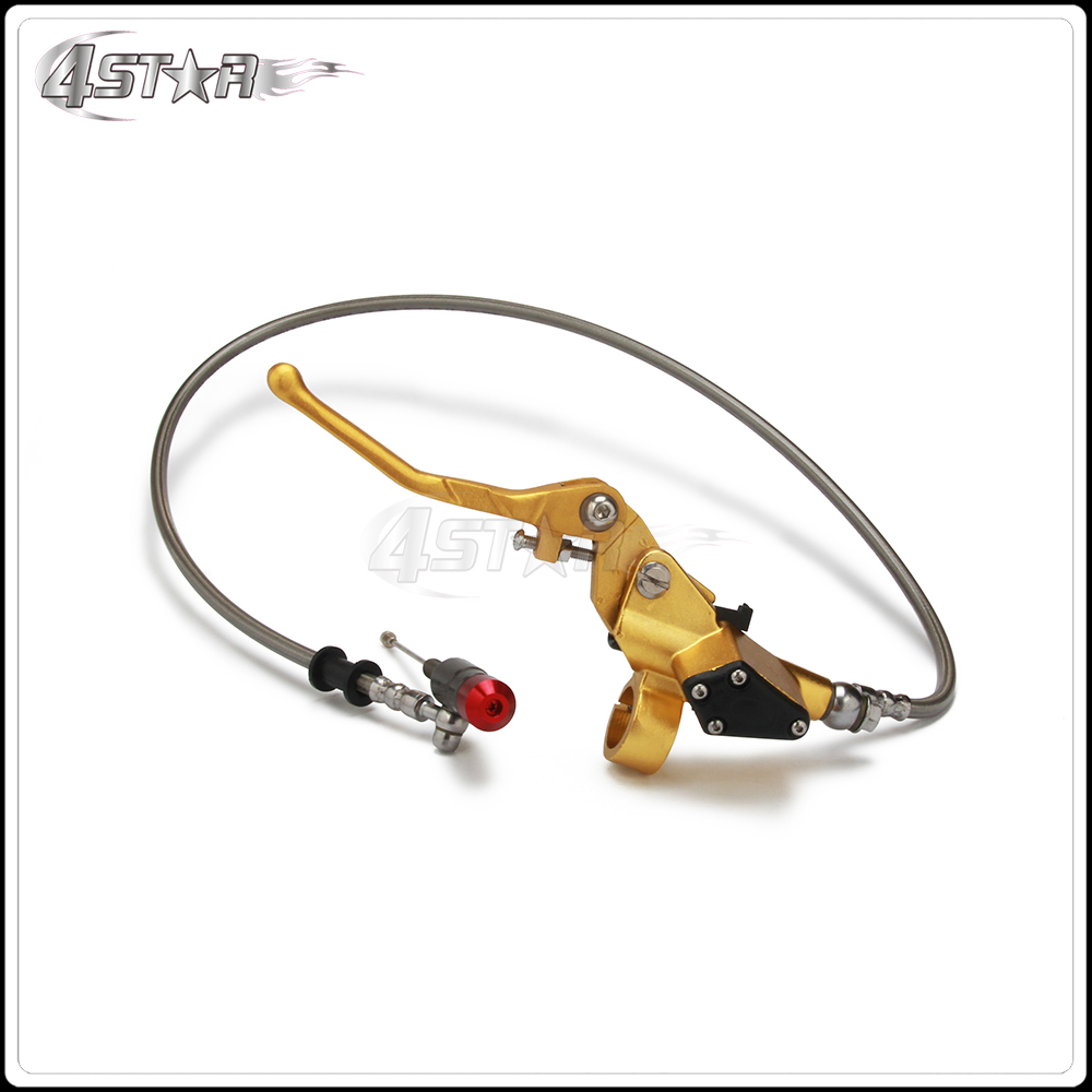 Pro Parts Gold 900mm Hose Motorcycle Hydraulic Clutch Lever Master Cylinder Fit ATV 50cc-125cc Dirt Pit Bike Horizontal Engine motorcycle rear hydraulic brake master cylinder pump for 50cc 70cc 110cc 125cc 150cc 250cc thumpstar atv pit pro dirt bike