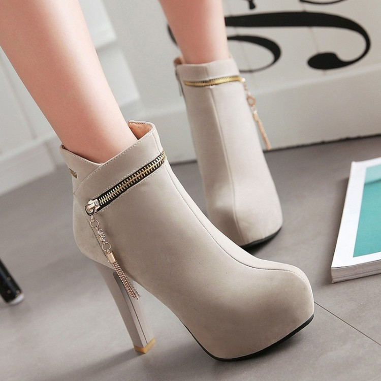 ФОТО Fashion vintage fashion nubuck leather ultra high heels boots spring and autumn single boots 2016 women's round toe shoes boots