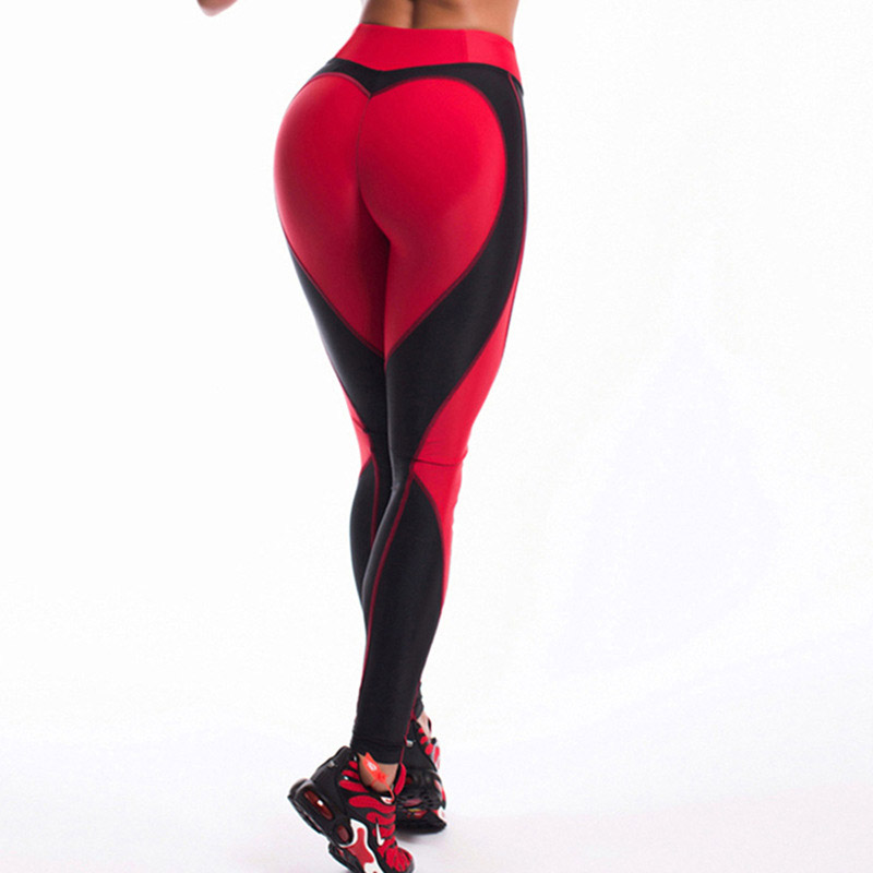 Heart Shape   Leggings   Women New Red Black Color High Waist Pants Patchwork Printed Leggins Big Size High Elastic Fitness   Leggings