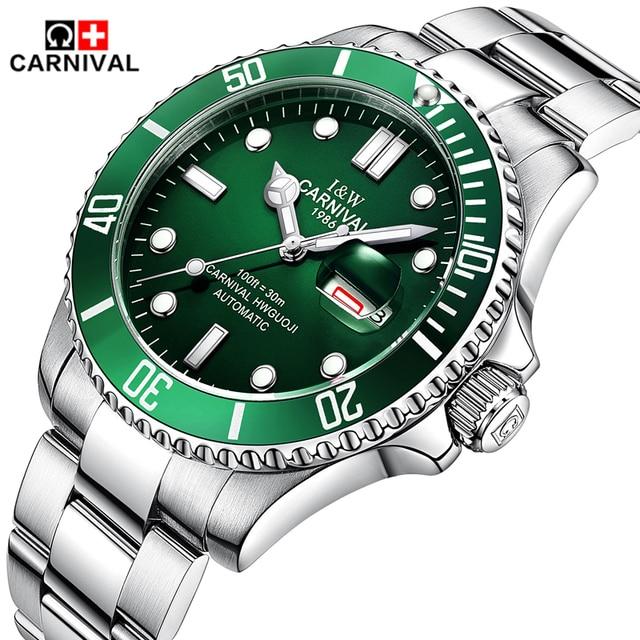 Mens Watches Top Brand Luxury CARNIVAL Watch Men Automatic Self-Wind Luminous Clock Sport Full Steel Wristwatch relogio masculin