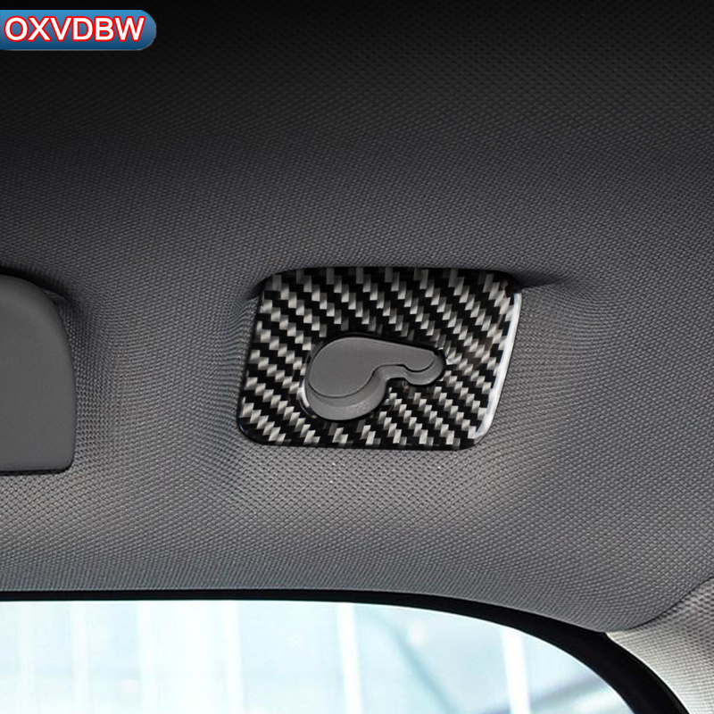 For Audi Q7 S line Carbon Fiber Car styling 3D Stickers And Decals Roof hook panel Interior Trim Cover 2016 2019 accessories