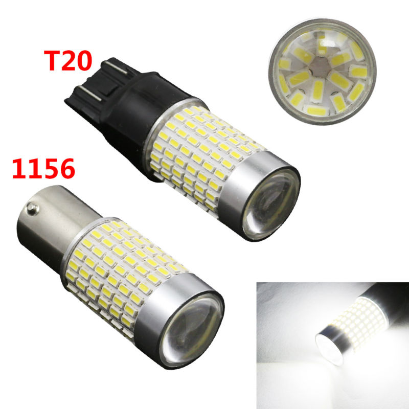 2pcs White 1156 BA15S T20  P21W Xenon LED Light 144 SMD Auto Car Xenon Lamp Tail Turn Signal Reverse Bulb Light External Light 1156 ba15s p21w xenon led light 80smd auto car xenon lamp tail turn signal reverse bulb light free shipping