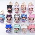 Super Bonito de Cristal Que Bling Chapéu Monchichi Keychain Para Chave Do Carro Bag Encantos Acessório Pingente Grande Presente Para O Ano Novo Feliz