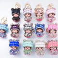 Super Cute Bling Crystal Hat Monchichi Keychain For Car Key Bag Charms Pendant Accessory Great Gift For Happy New Year