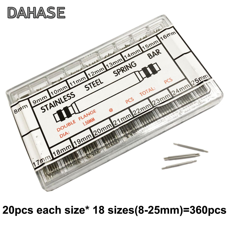 360PCS 8mm 9 10 11 12 13 14 15 16 17 18 19 20 21 22 23 24 25mm Watch band Release Pin Watch Repair Tool Set Kit Spring Bar Pins
