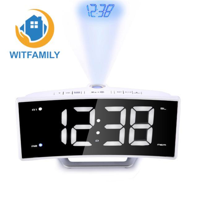 FM Radio Alarm Clock LED Digital Electronic Table Projector Watch Desk Nixie Projection Clock With Time Projection-in Alarm Clocks from Home & Garden