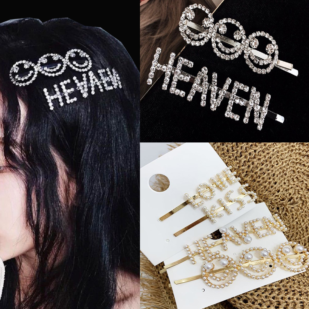 New Korea Fashion English Letter Barrette Rhinestone Alloy Personality Word Women Girls Hair Clips Hairclip Hair Accessories