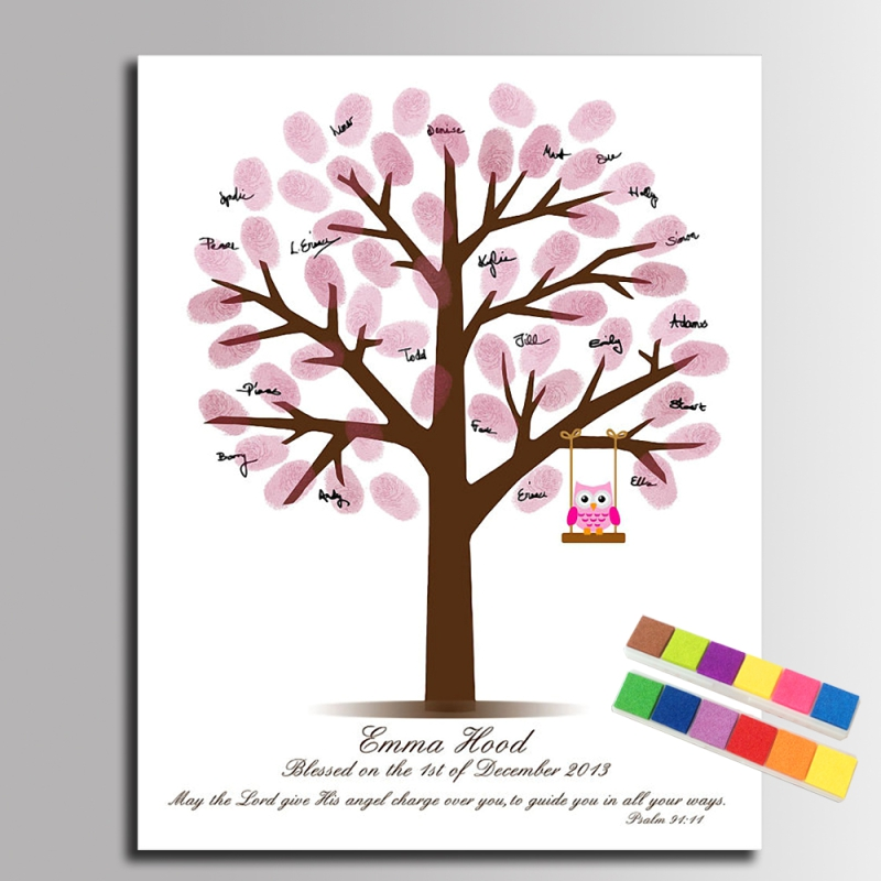 Baby Shower Guest Book Fingerprint Tree Painting Pink Owl Canvas Prints Guestbook Regalos Comunion Gift Baby Shower Decorations