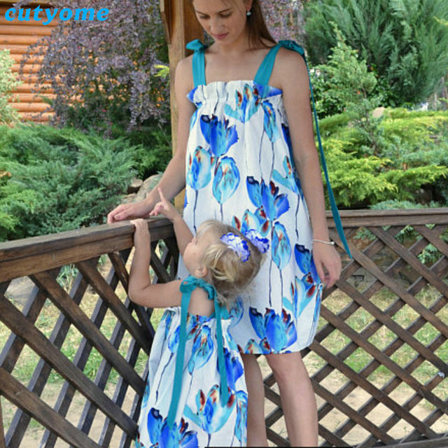 Mommy And Me Beach Dress Matching Mother Daughter Family Look Fl Sleeveless Dresses Clothes Mom Kids
