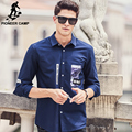 Pioneer Camp New deep blue casual shirt men brand clothing fashion male shirt top quality spring autumn printed men shirt 677182