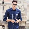 Pioneer camp nueva deep blue camisa ocasional de los hombres ropa de la marca camisa de moda masculina primavera otoño impreso camisa de los hombres de calidad superior 677182