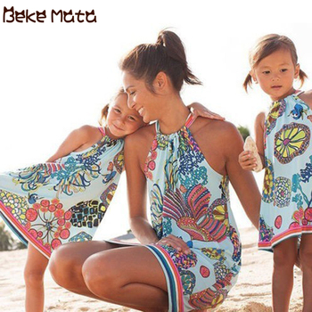 Mother Daughter Dresses Summer 2019 Mommy And Me Clothes Beach Lacing Ocean Print Family Look Mom Girl Family Matching Outfits