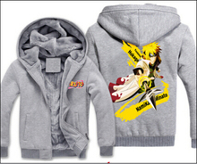High quality cartoon costume Naruto plus velvet thickening clothes zipper cardigan hooded coat man