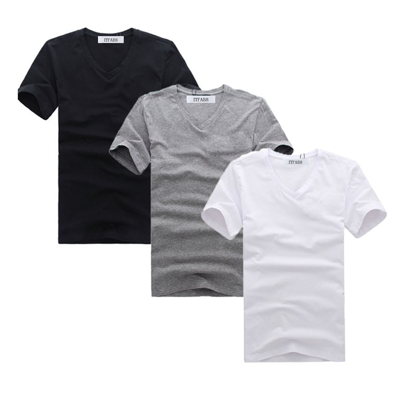 ITFABS New Brand Hot Cool Men V Neck Simple Cotton T-shirt Slim Fit Short Sleeve Solid Color Clothes Street Casual Tee