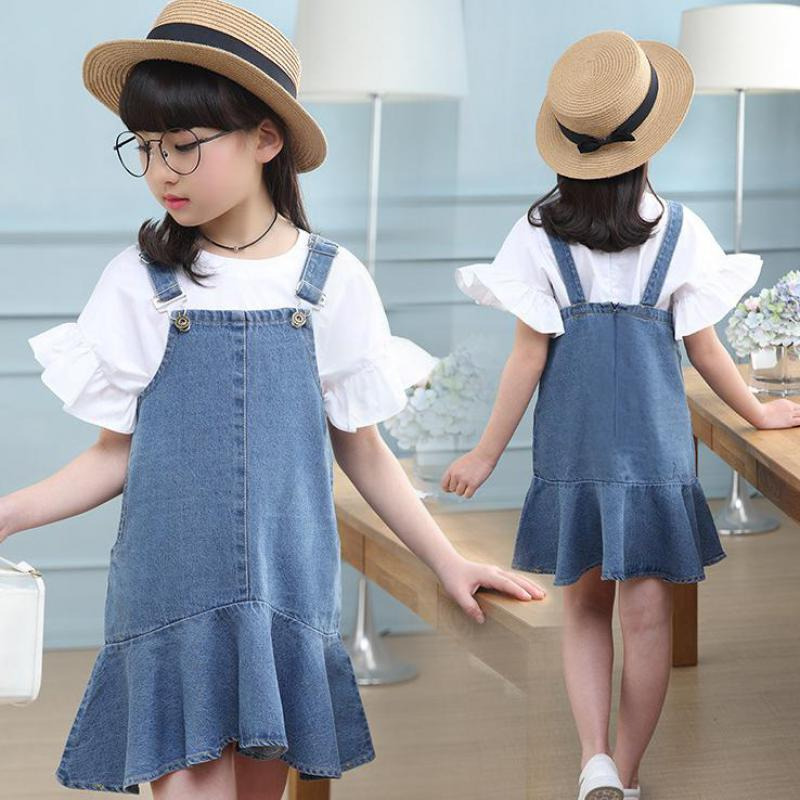 Toddler Girls Outfits Kids Baby Girls Clothes Sets Summer White Blouses Shirts Denim Strap Dress Girls Clothing Sets 2pcs Suits fashion autumn girl clothing sets denim outfits girls clothes sets jeans jackets shirt patchwork dress 2pcs suits with necklace