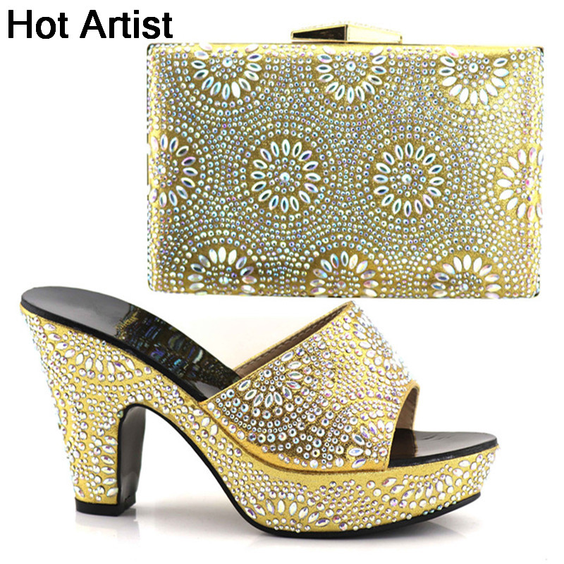 Hot Artist Hot Selling Italian Woman Shoes And Bags Set African Style High Heel Shoes And Bags For Wedding Dress YK-098 capputine hot selling african woman shoes and bags set italian style high heels shoes and bag sets for dress size 37 42 bl765c