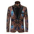 2017 New Mens Blazer Luxury Printing Suits For Men Top Quality Blazers Slim Fit Jacket Outwear Coat Costume Homme Blazer Men