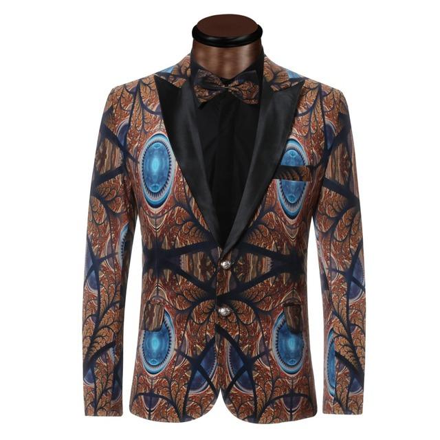 2017 Novos Homens Blazer Ternos de Impressão de Luxo Para Homens Top qualidade Traje Homme Blazer Blazers Slim Fit Jaqueta Casaco Outwear homens