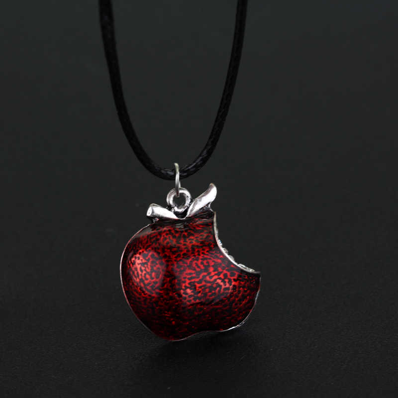 Televisão jóias era uma vez neve branca regina cristal veneno maçã pingente colar colliar cordão de couro feminino meninas presente