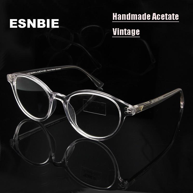 ESNBIE Vintage Round Brýle Rámy Dámské oči Rám Průhledné brýle Rám Obyčejné brýle Muži Čisté brýle krátkozrakosti