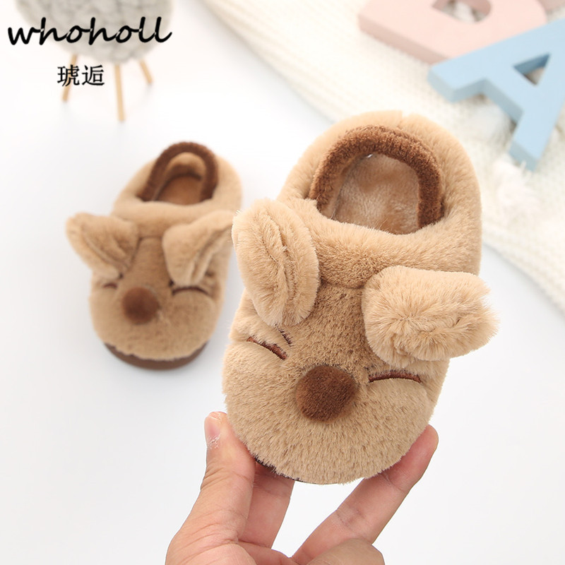 Whoholl Baby Girl Boy Soft Cartoon Design Slippers Toddler Warming Crib Shoes Warm Slipper Thermal Home Shoes Children Slippers