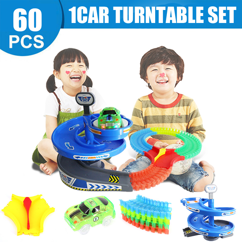 Kids Gift Glow Racing Toy LED Car Toy Flash 60pcs Magic Track Collection Curved Track Roller Coaster Spiral up turntable Toy