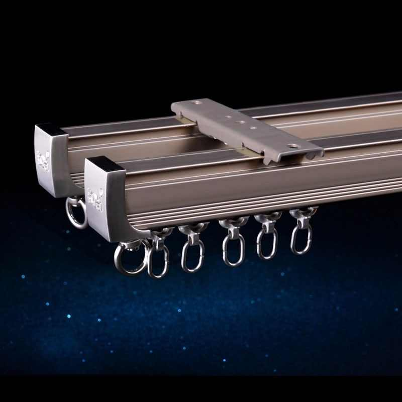 Aluminum Alloy  Curtain Track Curtain Rod Ceiling Side Installation Single Durable Triple  Curtain Accessories Customized