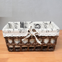 Rattan storage basket fabric storage box desktop storage box toy sundries snacks finishing basket storage basket все цены