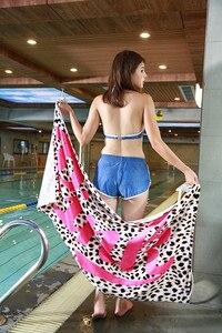Image 5 - Toalla de campo de 147X71cm, alfombrilla de baño suave de teñido reactivo rosa, toalla de playa de algodón de 100%, 1 CR T3