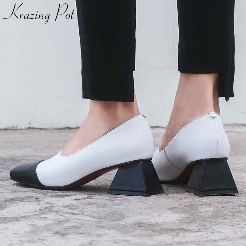 Krazing pot 새로운 추천 정품 가죽 브랜드 med heels 여성 펌프 혼합 색상 장식 가을 봄 경력 숙녀 신발 l72-에서여성용 펌프부터 신발 의  그룹 1