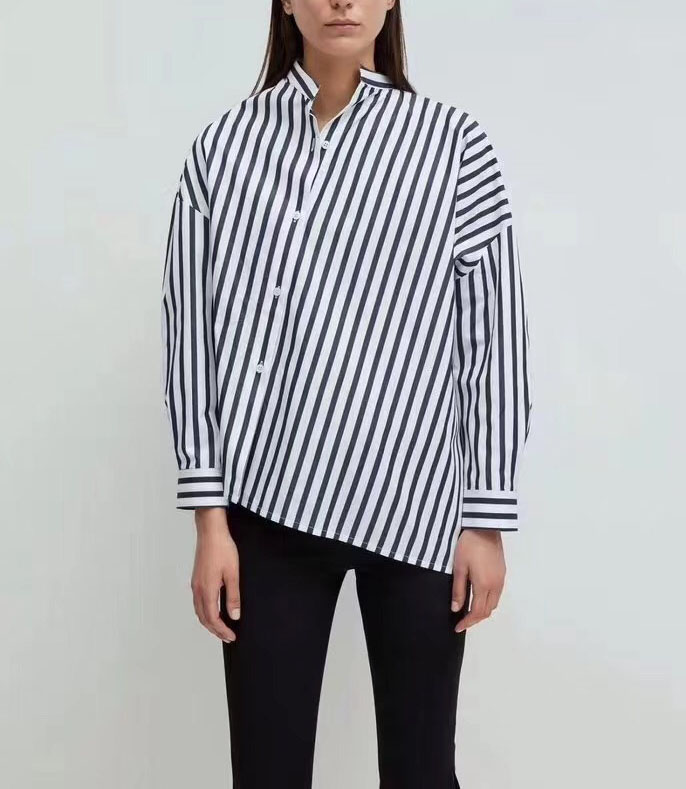 Noma Striped Shirt Skew Collar Drop Shoulder Asymmetric Shirts Blouse Top For woman 2019ss new-in Blouses & Shirts from Women's Clothing    1
