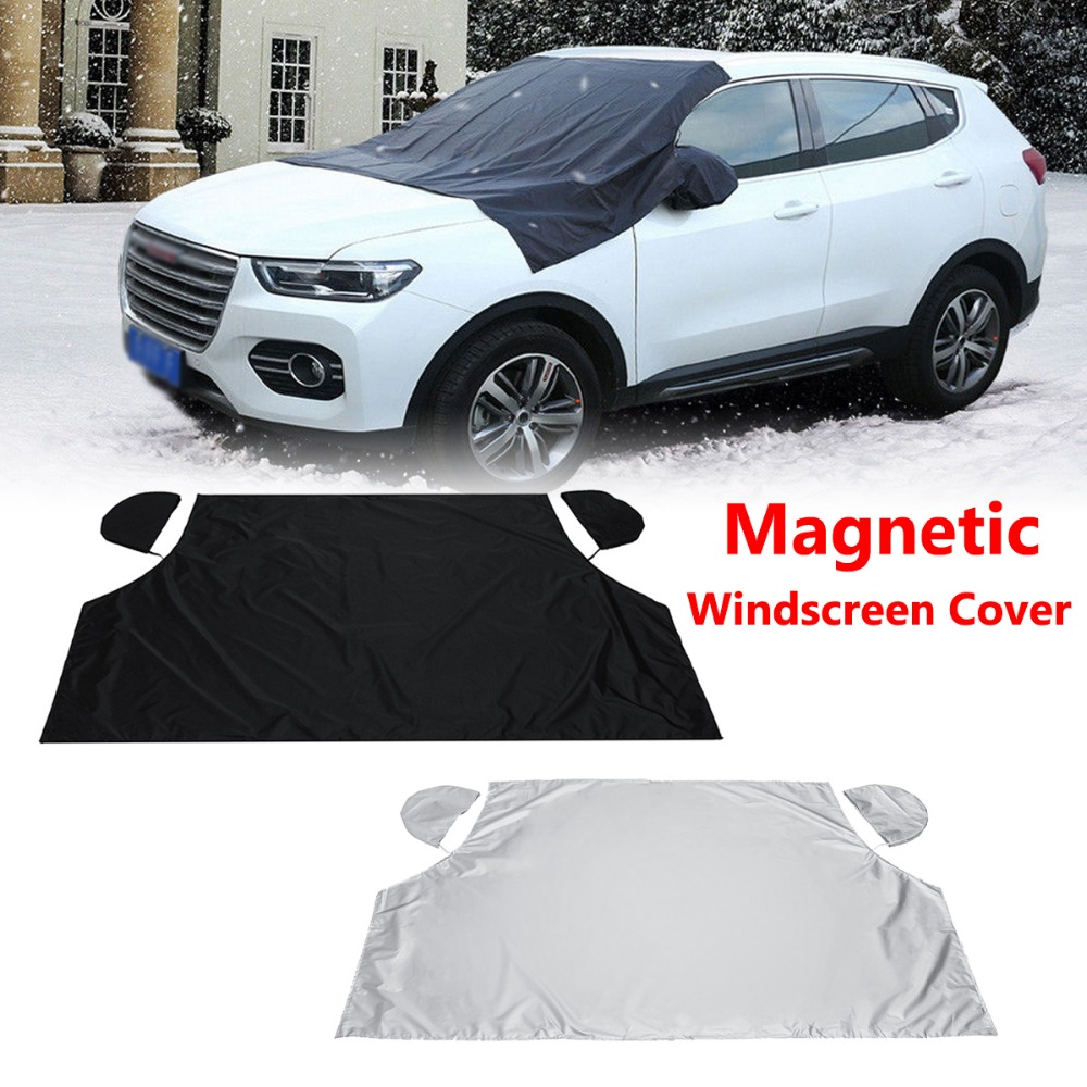 Car Magnetic Half Windscreen Cover Sun Snow Ice Frost Wind Winter Protector 208cm X 120cm For Car SUV