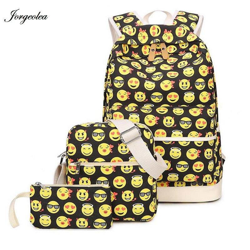 Jorgeolea 3 pieces Emoji Smile Face Printing Canvas Women Backpack S chool Bags For Teenage Nylon Laptop School Bags Retail