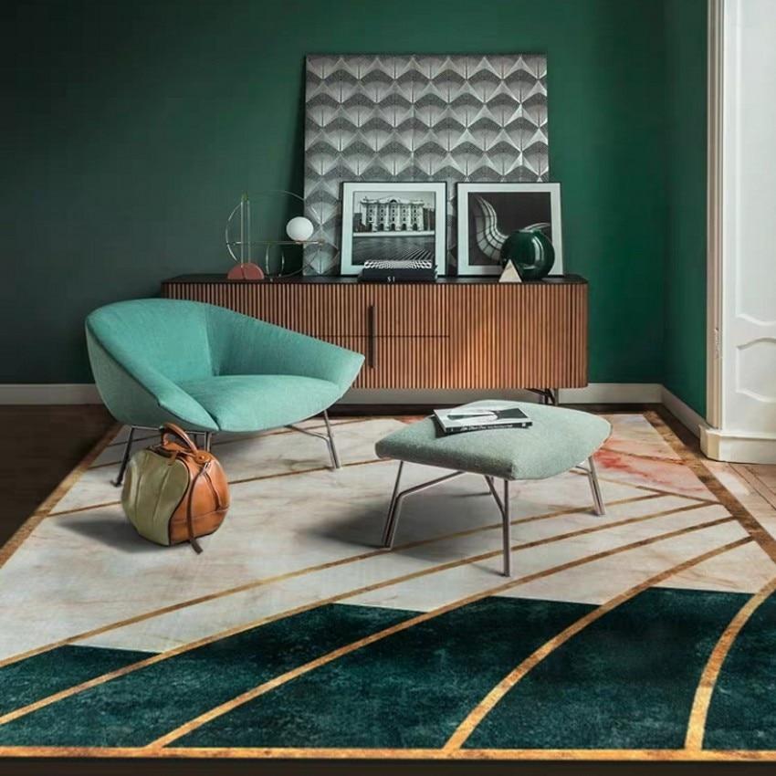 US $269.91 10% OFF Post modern dark green color with metallic striped high  density living room rug, decoration villa rug, Nordic bedside carpet-in ...
