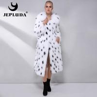 JEPLUDA Latest Fashion Warm Soft Natural Fox Fur Coat long Leopard Print Real Fur Coat Women Winter Coat Real Fur Jacket Women