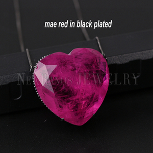 Image 3 - Newranos Pedra Fusion Stone Heart Necklace 10 Colors Birthstone Pendant Necklaces Crystal Long Chain Necklaces Party Jewelry