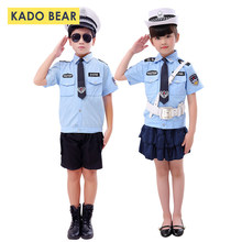 Boy Police Roleplay Kids Army Military Uniform Children Cosplay Policemen Costumes Special Kindergarten Performance Clothing Set(China)