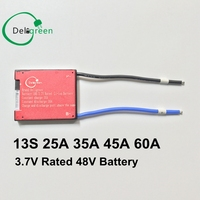 13S 25A 35A 45A 60A PCM PCB BMS For 48V 18650 LiNCM Li Ion Lithium Battery