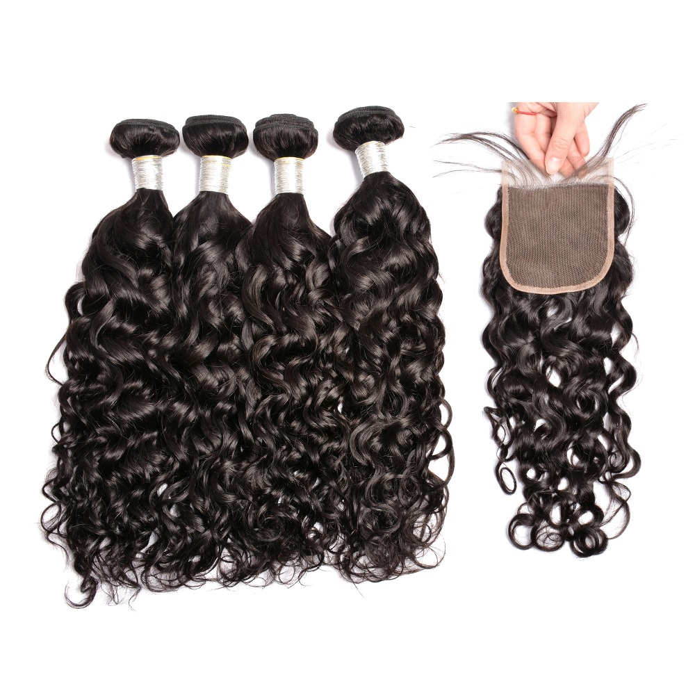 Iwish HAIR Human Hair Water Wave 3 Bundles With Closure Free/Middle/Three Part 4Pcs Remy Human Hair Bundles With Lace Closure