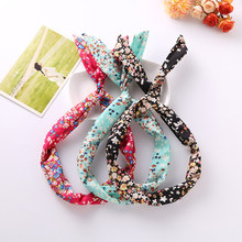 New Cute Leopard Dots lip print flower Bunny Rabbit Ear Ribbon Headwear Hairband Metal Wire Scarf Headband Hair Band Accessories(China)