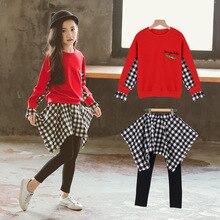 Fashion Child Plus Size Spring Skirt Sets Irregular Plaid Pants Patchwork Tops 2 PCS Embroidery Kids Girls Clothing