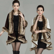 New 2015 Women's Cape Cashmere Overcoat Ladies Fur Collar Outerwear Fashion Plus Size Cloak Sweater Cashmere Cardigan H5152