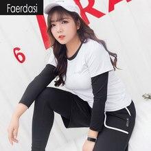faerdasi Plus Size Sport suit for women Yoga suit 4 in1 set Sports Bra Shorts Legging T shirt Fitness suit Stretch Sportswear