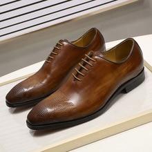 Zapatos de vestir para hombre pintados a mano cuero genuino marrón, zapatos formales estilo Oxford con cordones, para oficina y negocios, Otoño, 2019