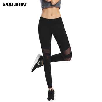 MAIJION Fitness Yoga Sports Pants For Women Sexy Mesh Patchwork Yoga Leggings Black Slim Workout Running Pants Sport Tights